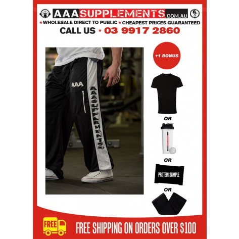 AAA 2017 | Black and White Polyester Track Pants