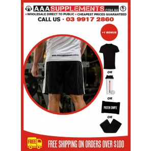 AAA APPAREL | Black and White Polyester Gym Shorts | Long Version