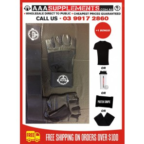 AAA 2016 - Premium Leather Gym Gloves with wrist Wraps